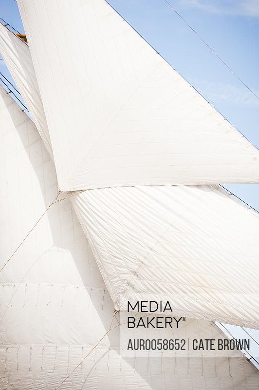 Detail of large canvas sails on a ship