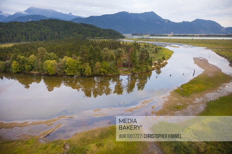Aerial photograph of Pitt River, British Columbia, Canada.