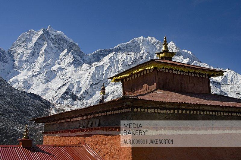 Thyangboche Monastery against snowcapped Himalayas, Solukhumbu, Nepal