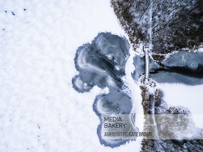 Aerial view of frozen lake in winter, South Kingstown, Rhode Island, USA