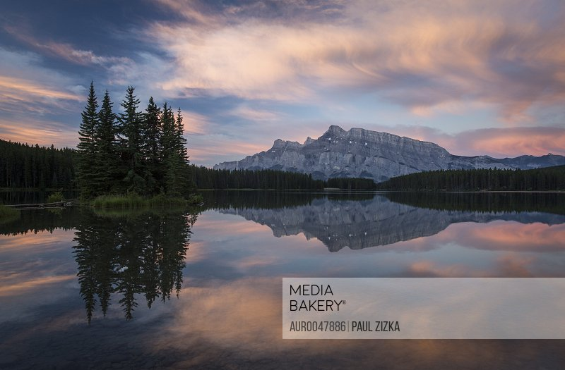 Reflection Of Mount Rundle In Two Jack Lake