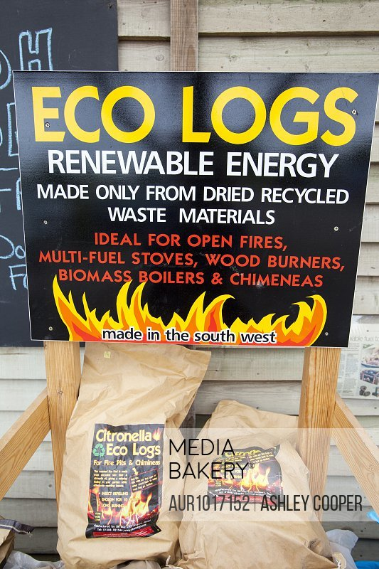 Citronella eco logs made from recycled waste material<br><br><span style='color: red'>Editorial Use Only.</span><br><br>