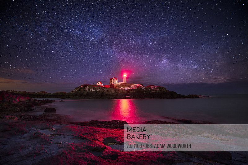 The Milky Way as seen over Nubble Lighthouse in York, Maine.