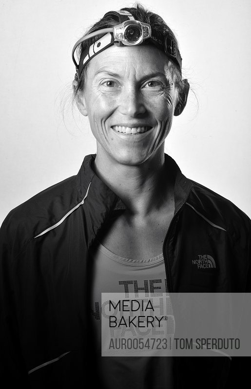 Portrait of a woman at the Vermont 100.