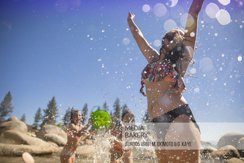 Girls Having Fun At Lake Tahoe, Nevada, Usa