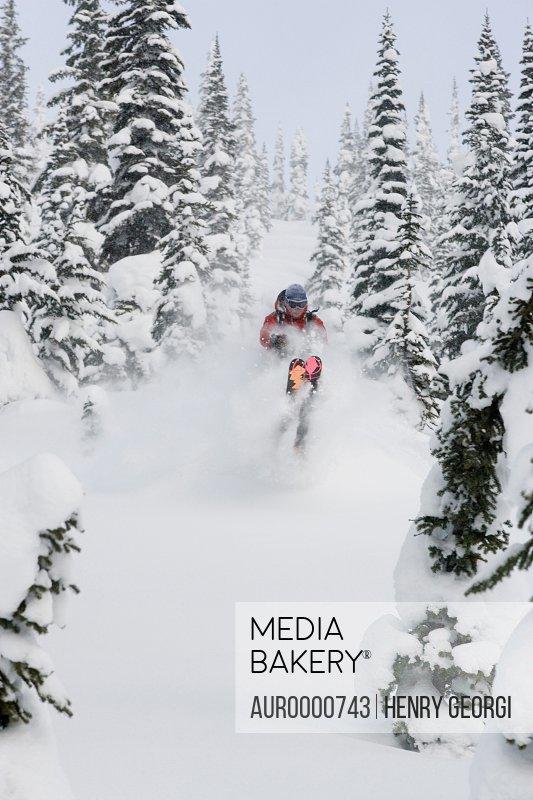 Young man skiing in deep powder