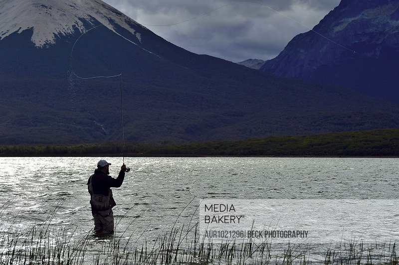 Man fly fishing in�Tres�Valles�Lake, Argentina