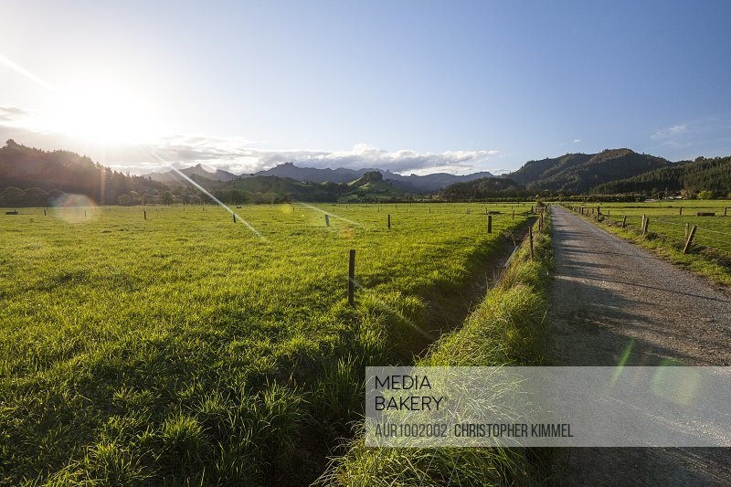 Sun setting over countryside hills and dirt road, New Zealand