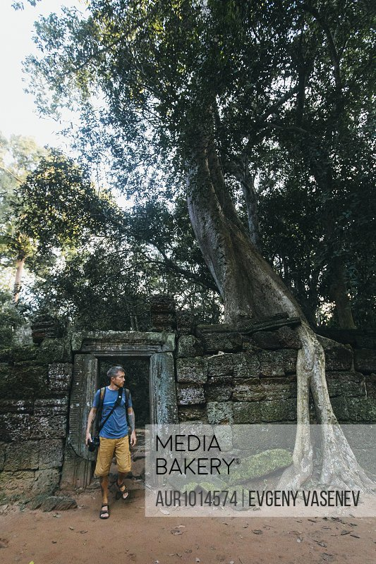 Photographer in famous Cambodian Ruins