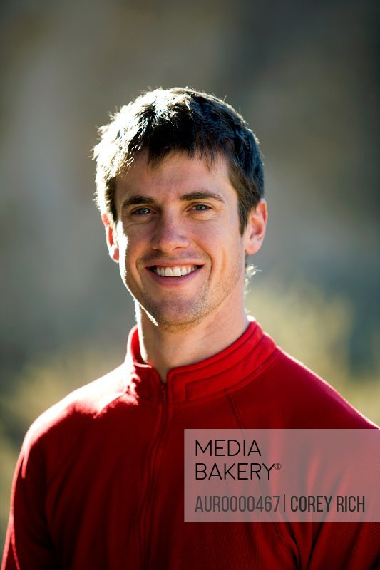 Headshot portrait of a male climber