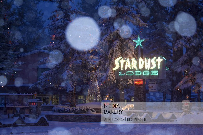 Stardust Motel with snow at Christmas time in South Lake Tahoe, CA.<br><br><span style='color: red'>Editorial Use Only.</span><br><br>