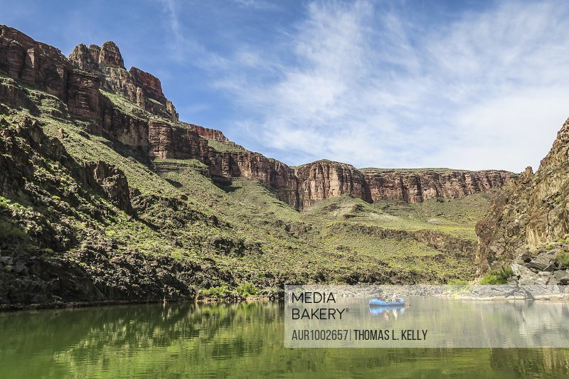 Majestic scenery of Grand Canyon with people rafting on Colorado River, Colorado, USA