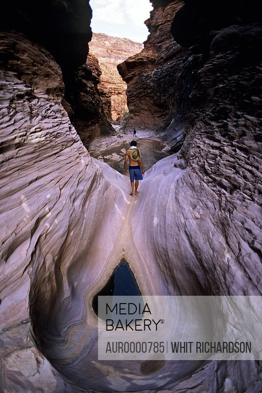 Person in canyon, Grand Canyon