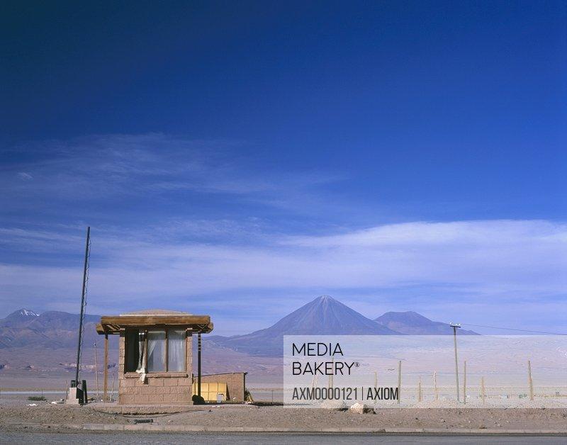 Hut In Deserted Landscape By Licancabur Volcano