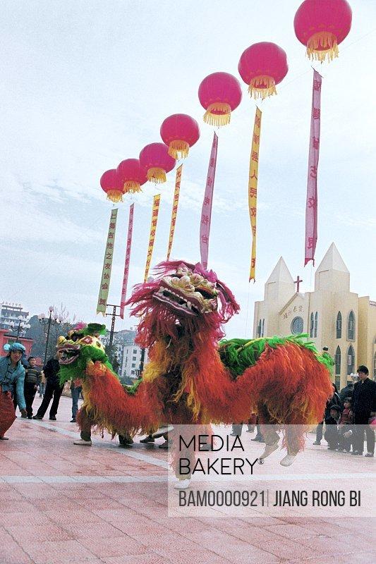 Waving lion performance on the Zhongzhou island on the lantern festival, Fuzhou City, Fujian Province, People's Republic of China