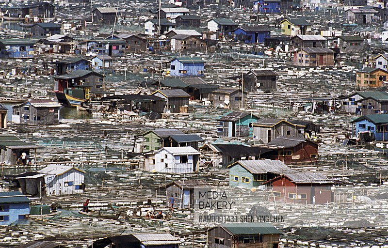 Elevated view of roofed houses, Fishing platoon, the Village on the sea of Hanjiang, Hanjiang, Xiaopu County, Fujian Province of the People's Republic of China