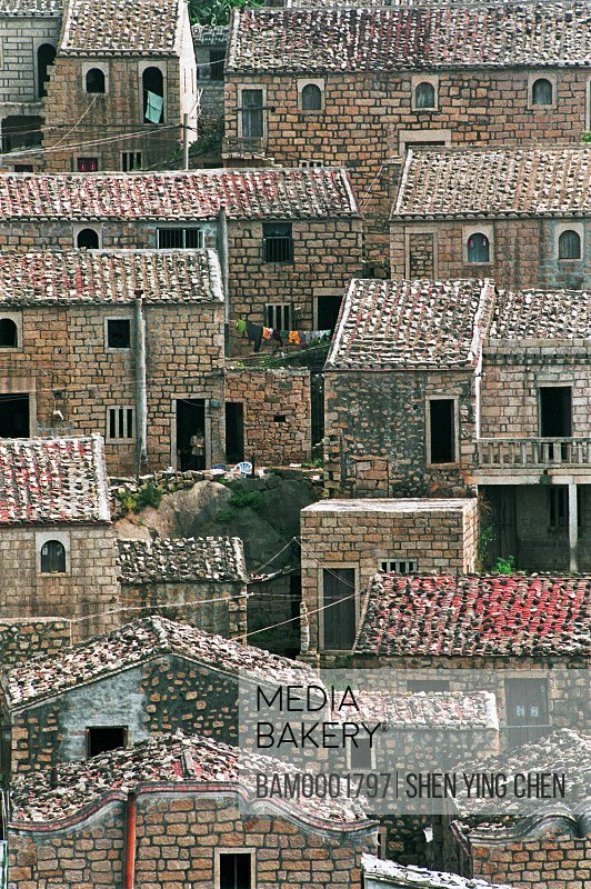 Elevated view of bricked houses, Fishing Village of the Baisha Village, Baisa Village, Pingtang County, Fujian Province of People's Republic of China