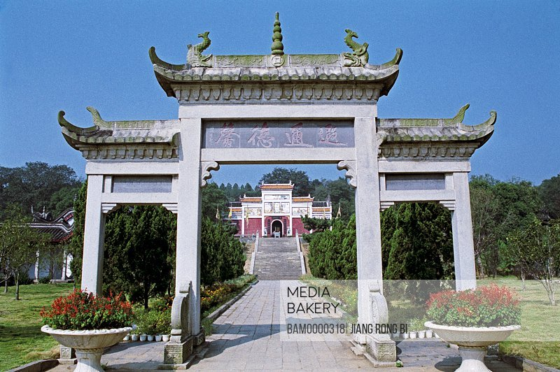 View of a entrance of Xiangfei temple, in the park of Jun Mountain, Yueyang City, Hunan Province, People's Republic of China