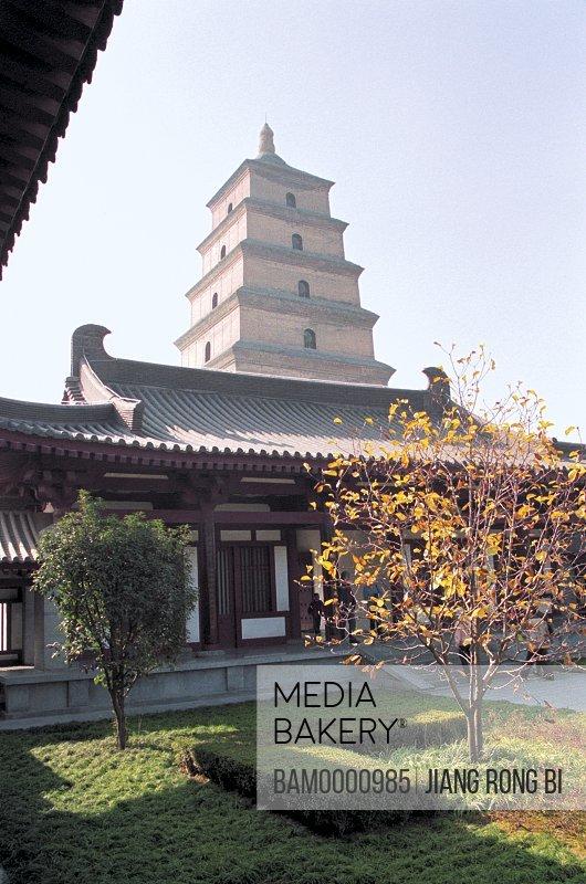 Pagoda against sky, Xi'an Wild Goose Pagoda, Xi'an City, Shanxi Province, People's Republic of China