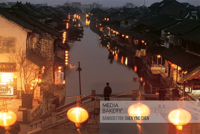 Night scene of old Xitang Town, Jiaxing city of Zhejiang province in People'c republic of China