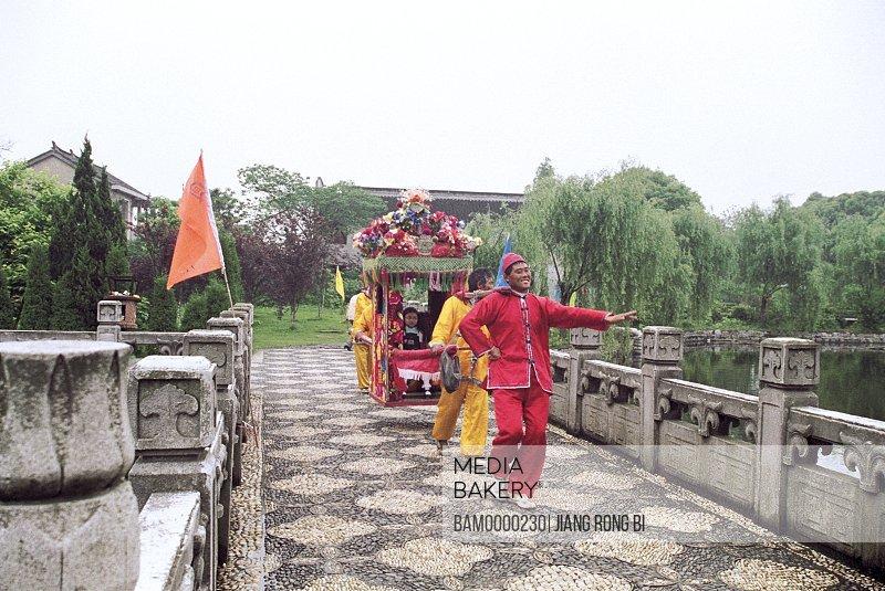 The wedding sedan of consuetude in Zhouzhuang region of rivers and lakes pond, Zhouzhuang Town, Kunshan City, Jiangsu Province of People's Republic of China