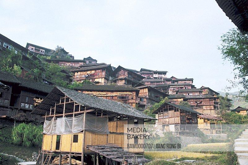 Diaojiao Building of thousands of Miao minority's houses in Xijing, Thousand of Miao minority's house of Xijiang, Kaili City, Guizhou Province of People's Republic of China