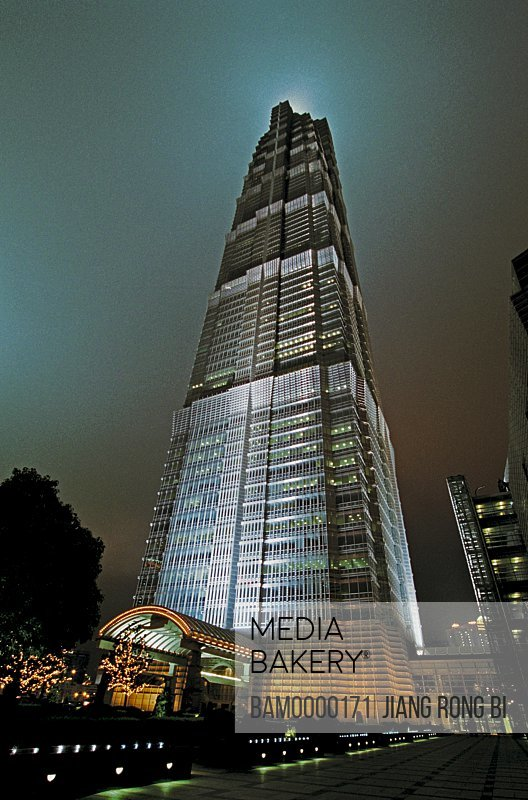 Low angle view of building at night, The night sight of Jinmao Building, Shanghai City of People's Republic of China