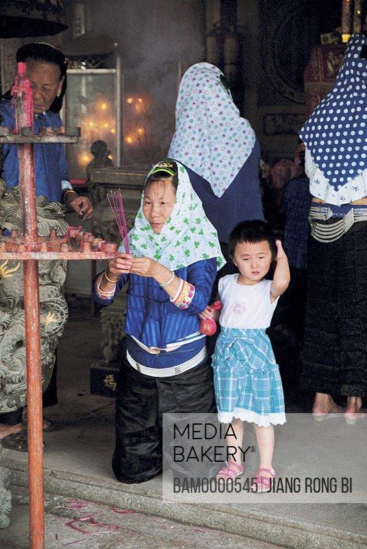 Huian Ladies Praying in Temple, Chongwu Town, Huian County, Fujian Province, People's Republic of China