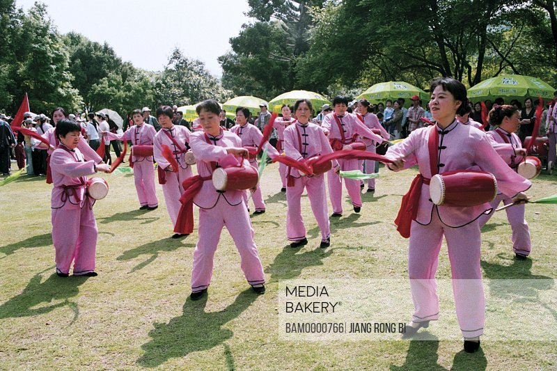 "Waistdrum Players for ""Banyan Festival"" Held in Forest Park, Fuzhou City, Fujian Province, People's Republic of China"