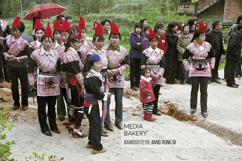 Women at wedding ceremony, She Nationality Ladies on Wedding Ceremony , Huokou Township, Luoyuan County, Fuzhou City, Fujian Province, PRC