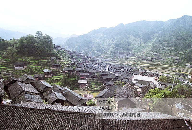 Scenery of thousands of Miao minority's houses in Xijiang, Thousand of Miao minority's house of Xijiang, Kaili City, Guizhou Province of People's Republic of China