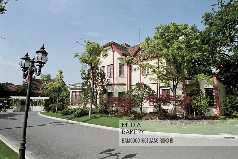 Houses by road with street lamp, The private villa, Shanghai City of People's Republic of China