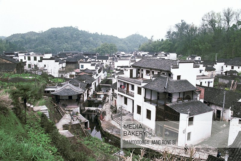 Elevated view of Liken village, Ancient common people residence of Huipai in Likeng Village, Likeng Village, Wuyuan County, Jiangxi Province of People's Republic of China