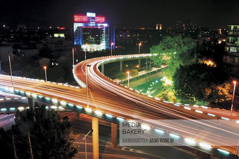 Elevated view of illuminated bridge at night, White horse road of Wu mountain night scenery of overpass, Fuzhou City, Fujian Province, People's Republic of China