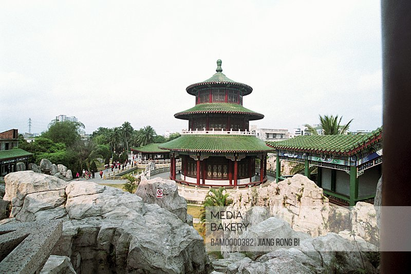View of rocks with a shrine in background, Wanghai Pavillion of in the ends of earth scenic area , Sanya City, Hainan Province of People's Republic of China
