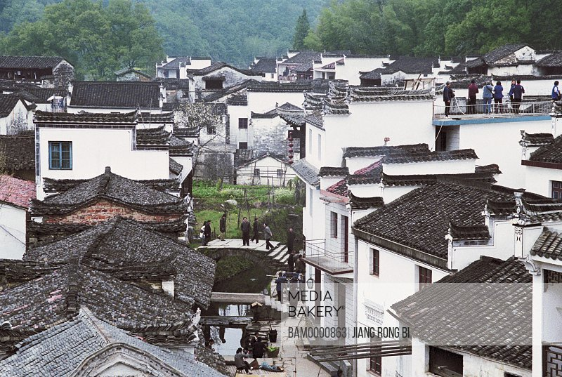 Elevated view of houses Likeng village, Ancient common people residence of Huipai in Likeng Village, Likeng Village, Wuyuan County, Jiangxi Province of People's Republic of China