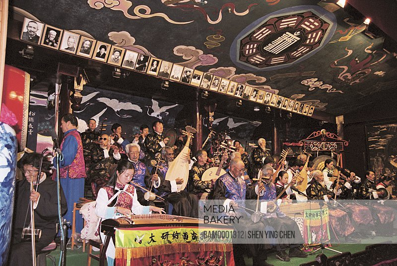 The Dayannaxi ancient music meeting of old Lijiang city, Lijiang old city, Yunnan Province of People's Republic of China