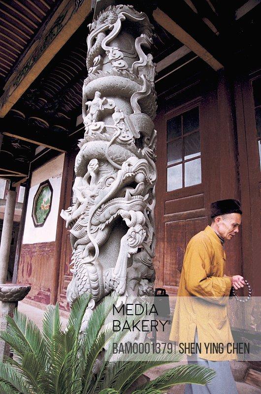 The monk of Zhiti Temple in Sanduao, Sanduao, Ningde County, Fujian Province of People's Republic of China
