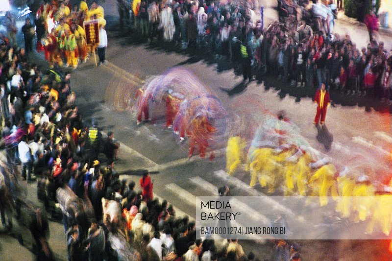 People watching performance at the lantern festival, The colorfull cars at the lantern festival between Mawei and Mazu, Mawei District , Fuzhou City, Fujian Province, People's Republic of China