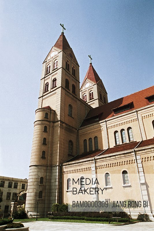 Low angle view of a church, The Looks of the God Church, Qingdao City, Shandong Province of People's Republic of China