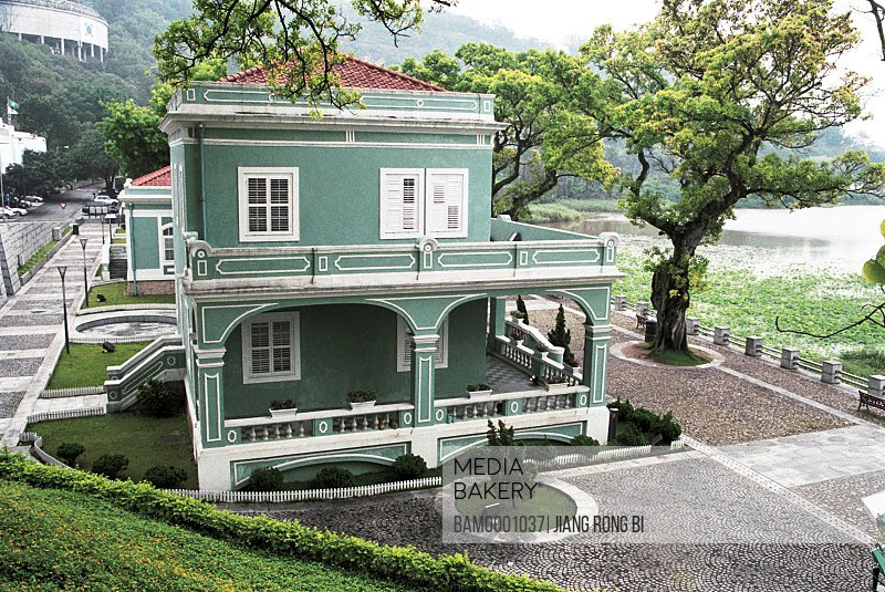 Elevated view of a Portugal building, Macao dragon central, Macao special administration region of People's Republic of China