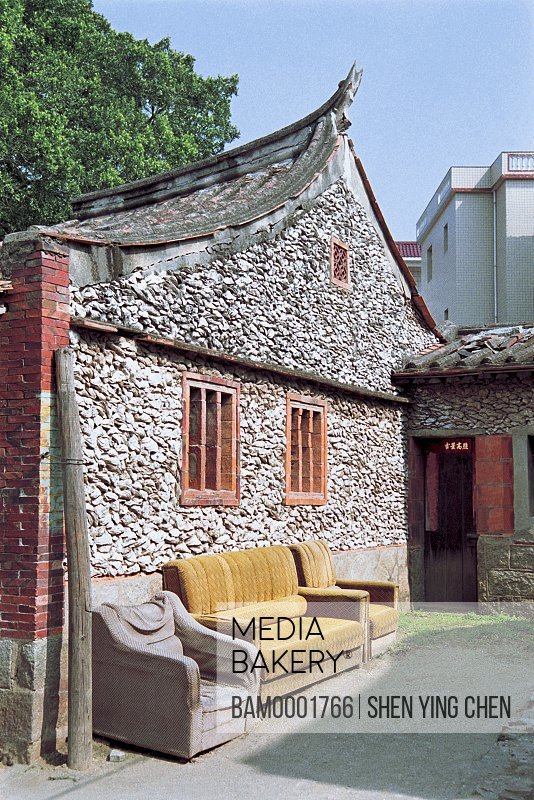 Couches and armchairs by house, Sea oyster shell house of Xunpu Village, Xunpu Village, Quanzhou City, Fujian Province of People's Republic of China