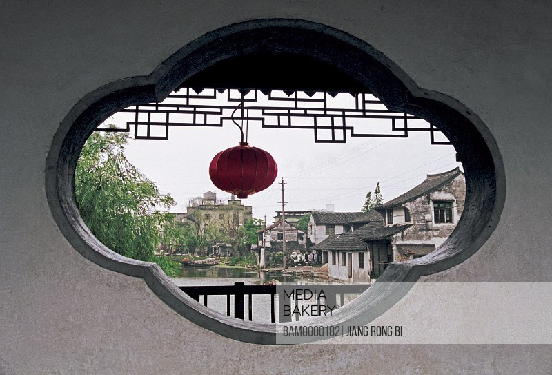 View of a lantern through structure, Petal-shaped Stone Window of Xitang Town, Jiaxing City, Zhejiang Province, People's Republic of China