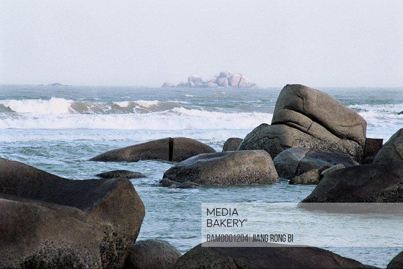 Rocks in sea, Binhai Volcano Geologic Park, Zhangpu county, Zhangzhou city, Fujian Province, PRC