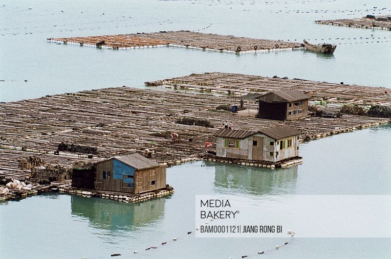 Elevated view of wooden structure built on sea, Fish Raft on the Sea, Xiapu County, Ningde City, Fujian Province, PRC