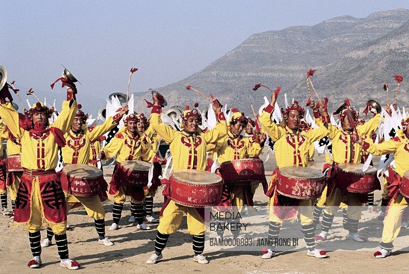 Luochuan Biegu Drum Show in Front of Huanghe River Hukou Waterfall, Yichuan County, Yan'an City, Shanxi Province, People's Republic of China