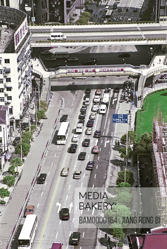 Elevated view of vehicle on road, The street sight of Jiangsu Road, Shanghai City of People's Republic of China