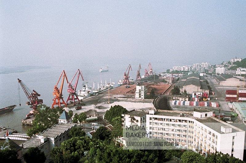 Elevated view of cranes at dockyard, The busy Mawei port, Mawei District , Fuzhou City, Fujian Province, People's Republic of China