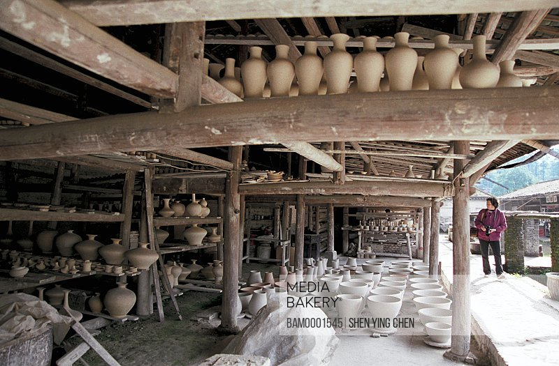 Ancient kiln with ceramic products, Jingde town, Jiangxi Province of People's Republic of China