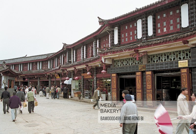 People walking on street in market, Ancient Lijiang City , Lijiang City, Yunnan Province, People's Republic of China